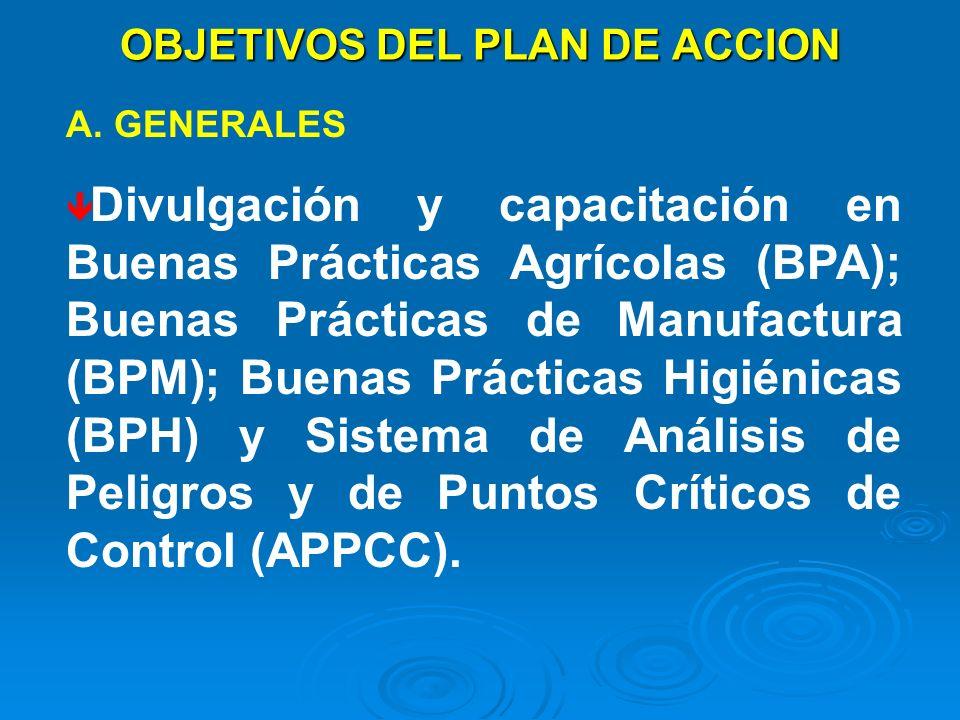 OBJETIVOS DEL PLAN DE ACCION A. GENERALES Divulgación y capacitación en Buenas Prácticas Agrícolas (BPA); Buenas Prácticas de Manufactura (BPM); Buena