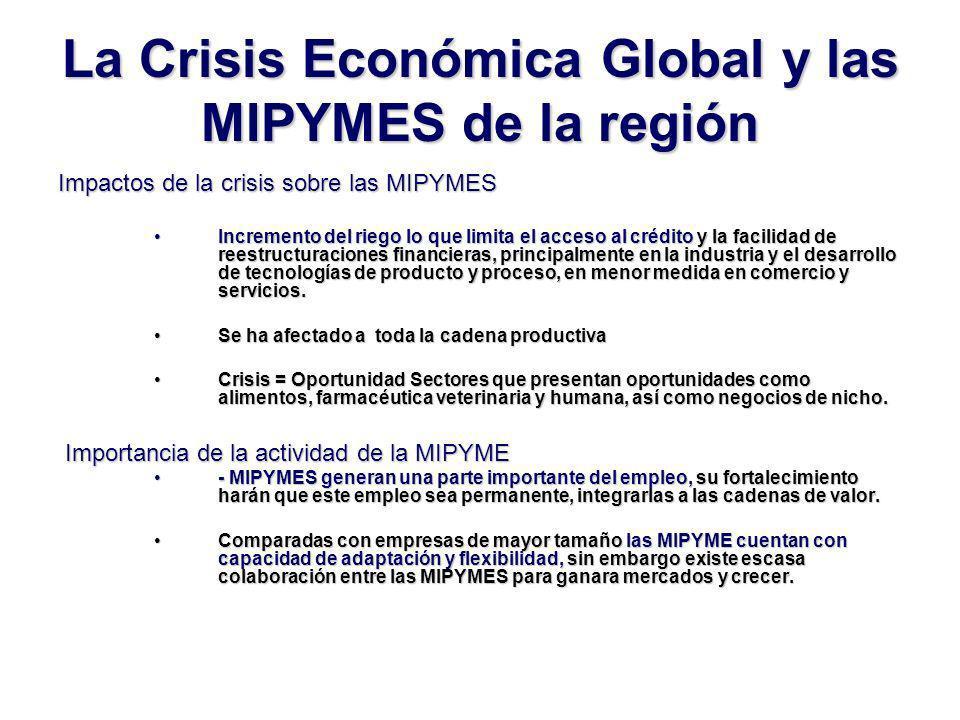 La Crisis Económica Global y las MIPYMES de la región Impactos de la crisis sobre las MIPYMES Incremento del riego lo que limita el acceso al crédito y la facilidad de reestructuraciones financieras, principalmente en la industria y el desarrollo de tecnologías de producto y proceso, en menor medida en comercio y servicios.Incremento del riego lo que limita el acceso al crédito y la facilidad de reestructuraciones financieras, principalmente en la industria y el desarrollo de tecnologías de producto y proceso, en menor medida en comercio y servicios.