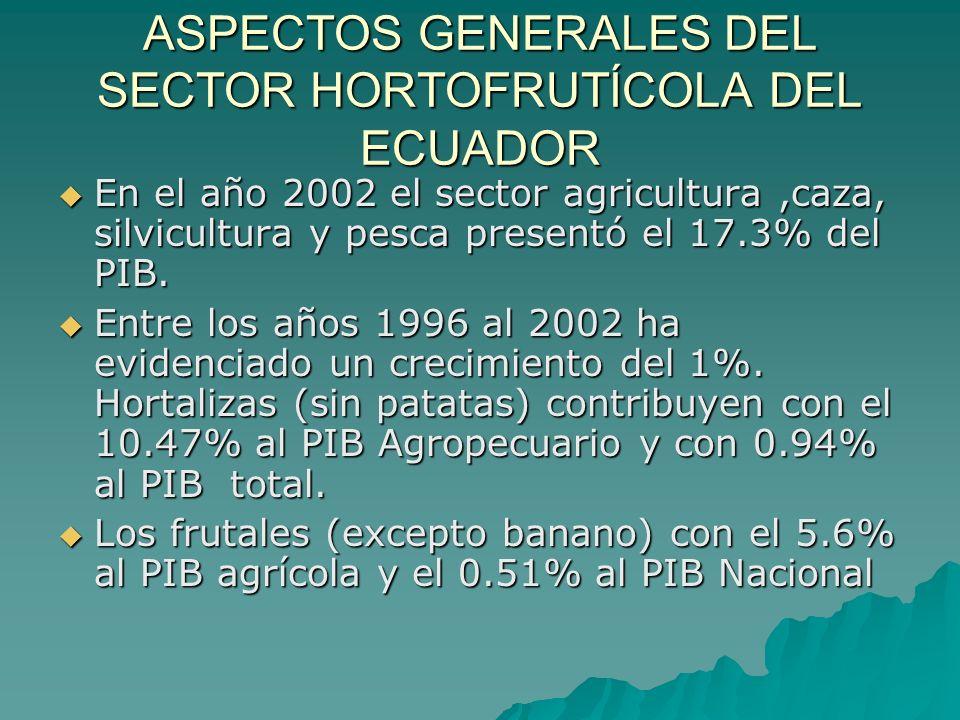 ASPECTOS GENERALES DEL SECTOR HORTOFRUTÍCOLA DEL ECUADOR En la última década el crecimiento tanto en volúmenes como en áreas cosechadas incrementa del 15.98% al 19.13%.