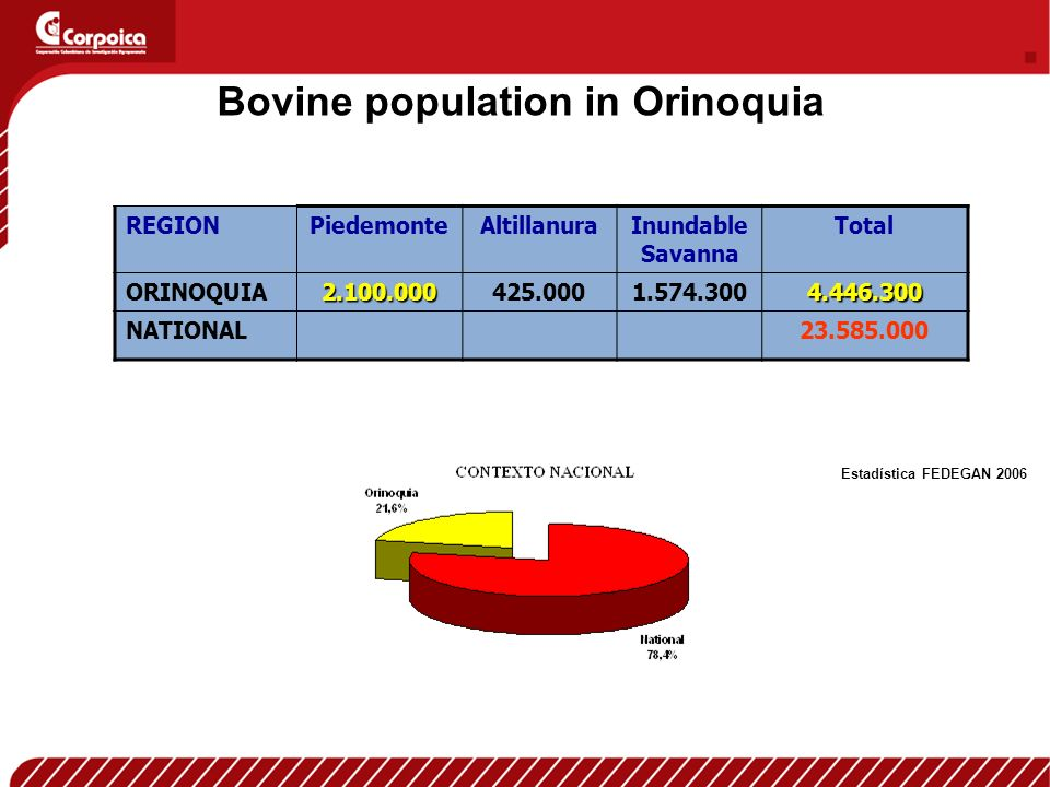 REGIONPiedemonteAltillanuraInundable Savanna Total ORINOQUIA2.100.000425.0001.574.3004.446.300 NATIONAL23.585.000 Bovine population in Orinoquia Estadística FEDEGAN 2006