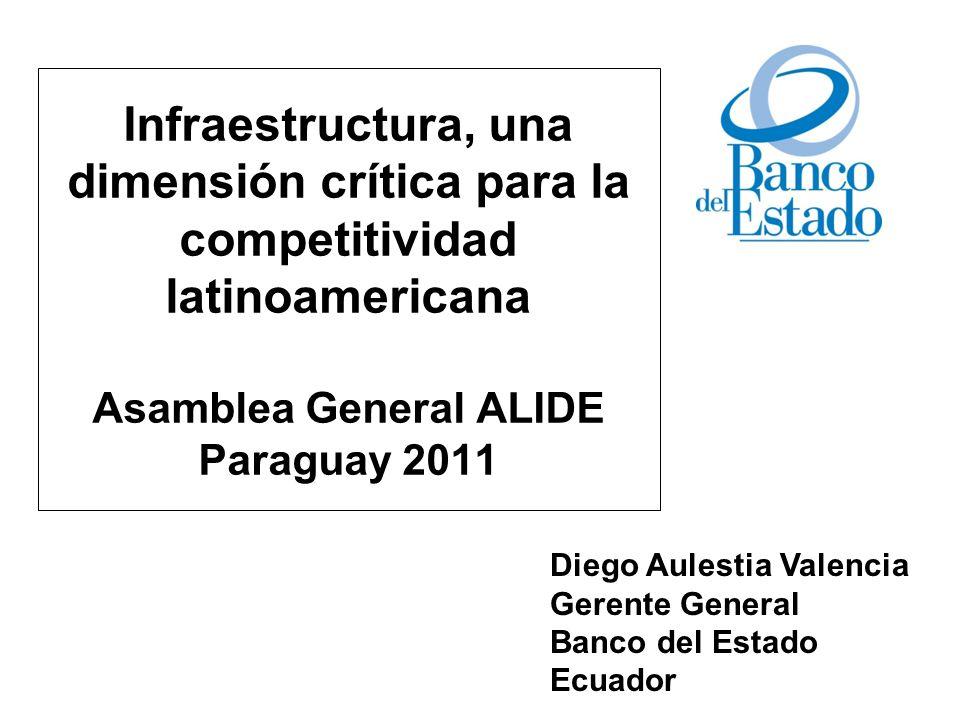 Infraestructura, una dimensión crítica para la competitividad latinoamericana Asamblea General ALIDE Paraguay 2011 Diego Aulestia Valencia Gerente Gen