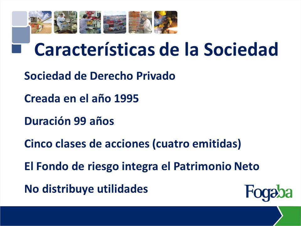 Sociedad de Derecho Privado Creada en el año 1995 Duración 99 años Cinco clases de acciones (cuatro emitidas) El Fondo de riesgo integra el Patrimonio Neto No distribuye utilidades Características de la Sociedad