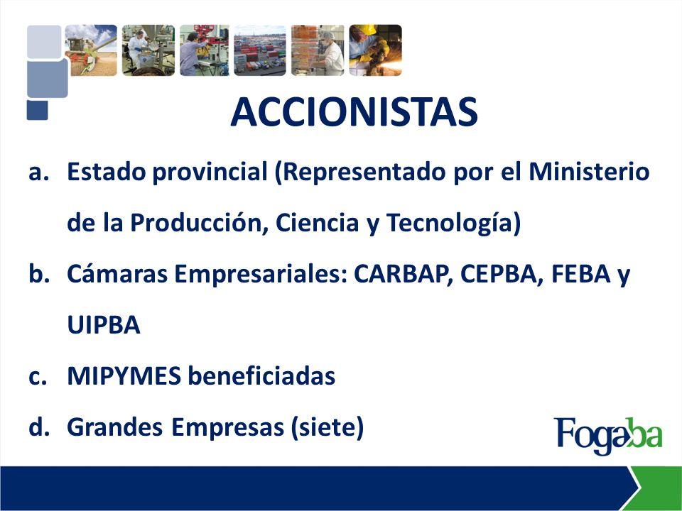 a.Estado provincial (Representado por el Ministerio de la Producción, Ciencia y Tecnología) b.Cámaras Empresariales: CARBAP, CEPBA, FEBA y UIPBA c.MIPYMES beneficiadas d.Grandes Empresas (siete) ACCIONISTAS