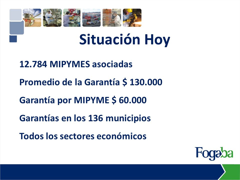 12.784 MIPYMES asociadas Promedio de la Garantía $ 130.000 Garantía por MIPYME $ 60.000 Garantías en los 136 municipios Todos los sectores económicos Situación Hoy
