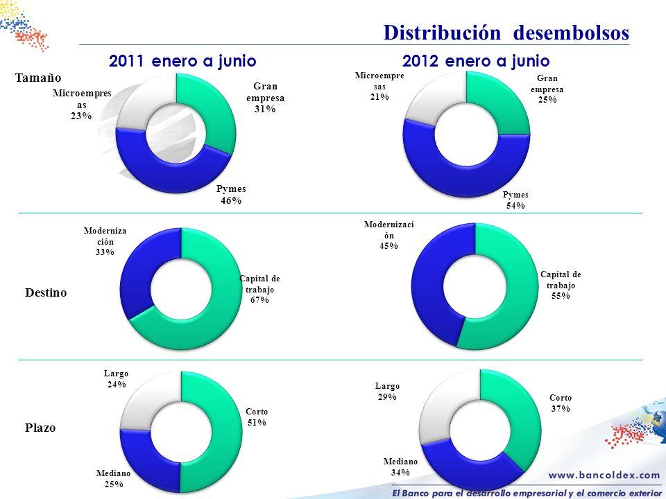 Distribución desembolsos 2011 enero a junio2012 enero a junio Tamaño Destino Plazo