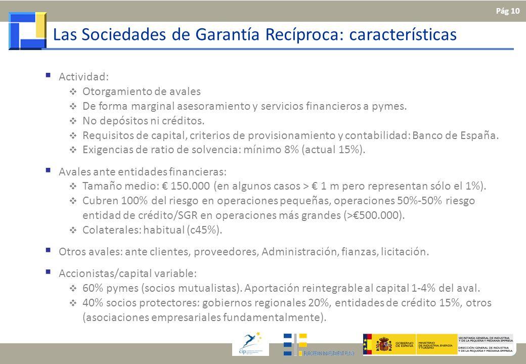 Las Sociedades de Garantía Recíproca: características Actividad: Otorgamiento de avales De forma marginal asesoramiento y servicios financieros a pyme