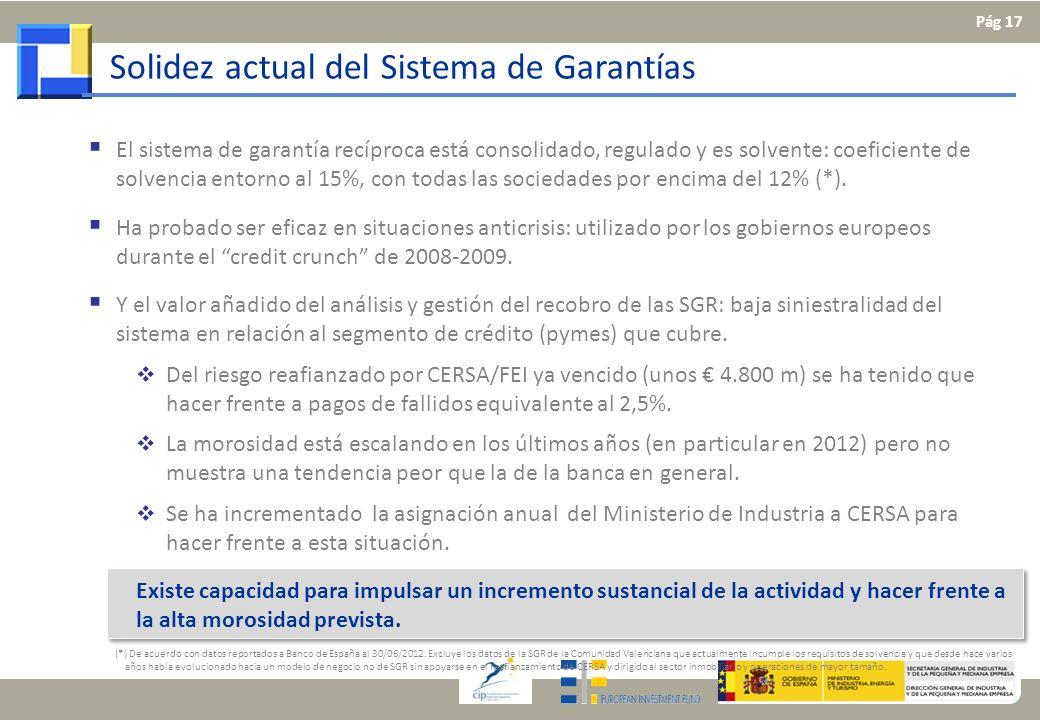 Solidez actual del Sistema de Garantías El sistema de garantía recíproca está consolidado, regulado y es solvente: coeficiente de solvencia entorno al
