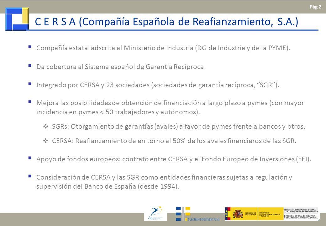 C E R S A (Compañía Española de Reafianzamiento, S.A.) Compañía estatal adscrita al Ministerio de Industria (DG de Industria y de la PYME). Da cobertu