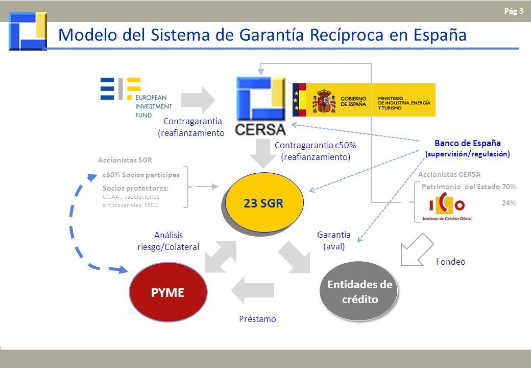 Préstamo Garantía (aval) Contragarantia c50% (reafianzamiento) Análisis riesgo/Colateral Modelo del Sistema de Garantía Recíproca en España c60% Socio
