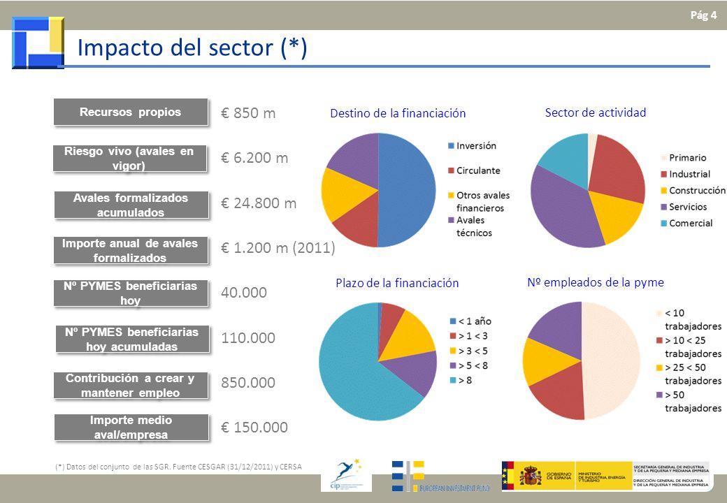 Impacto del sector (*) Riesgo vivo (avales en vigor) Avales formalizados acumulados Nº PYMES beneficiarias hoy Nº PYMES beneficiarias hoy acumuladas R