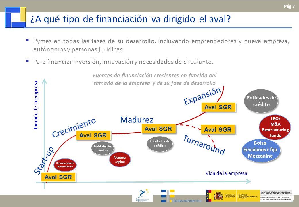 ¿A qué tipo de financiación va dirigido el aval? Madurez Aval SGR Business angels Subvencione s Entidades de crédito Venture capital LBOs M&A Restruct
