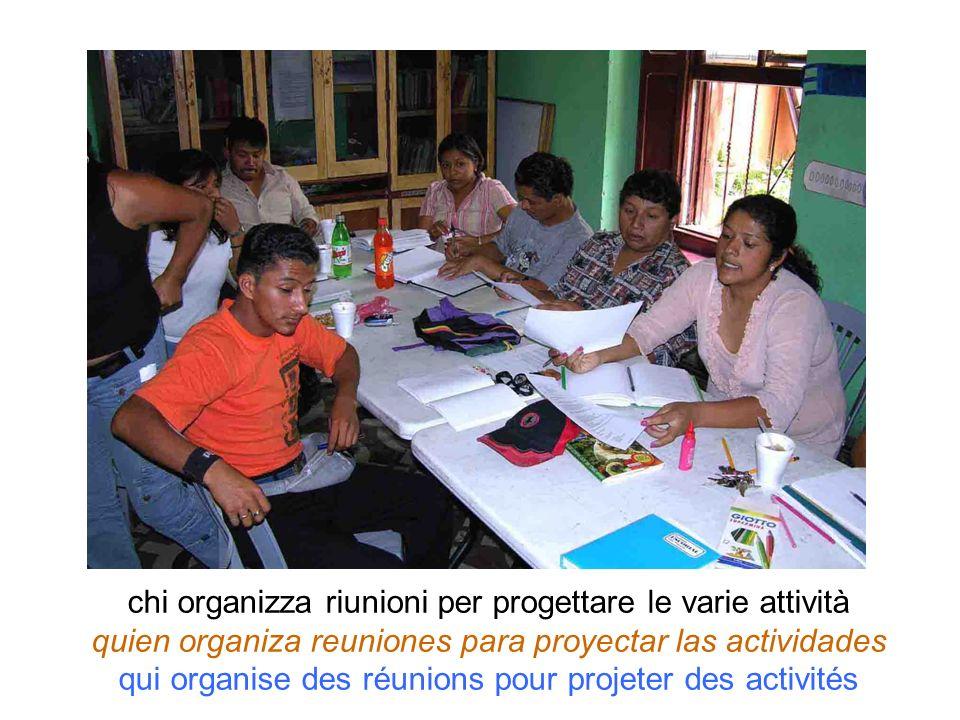 chi organizza riunioni per progettare le varie attività quien organiza reuniones para proyectar las actividades qui organise des réunions pour projete