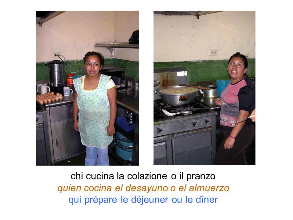 chi cucina la colazione o il pranzo quien cocina el desayuno o el almuerzo qui prépare le déjeuner ou le dîner