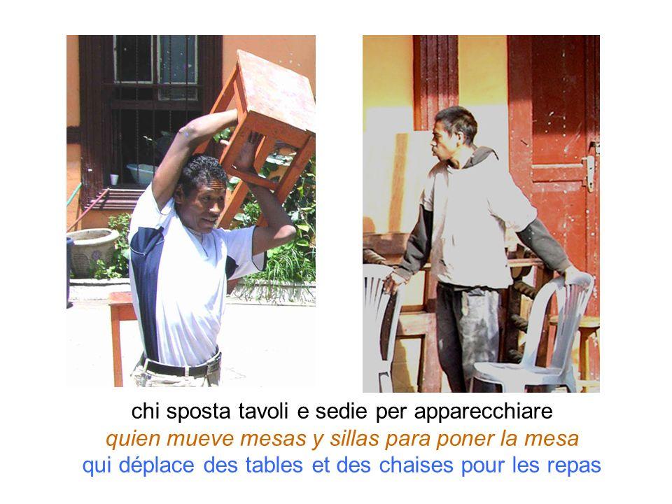 chi sposta tavoli e sedie per apparecchiare quien mueve mesas y sillas para poner la mesa qui déplace des tables et des chaises pour les repas