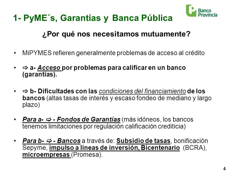 5 1- PyME´s, Garantías y Banca Pública 25.700 Créditos garantizados por Fogaba en nuestra cartera de préstamos por un monto de $ 2.000 millones entre 2007 y la actualidad.