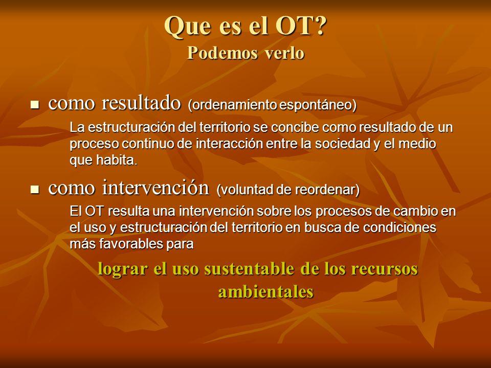 Que es el OT? Podemos verlo como resultado (ordenamiento espontáneo) como resultado (ordenamiento espontáneo) La estructuración del territorio se conc