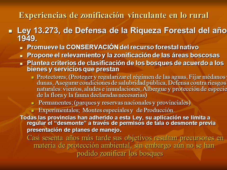 Experiencias de zonificación vinculante en lo rural Ley 13.273, de Defensa de la Riqueza Forestal del año 1949. Ley 13.273, de Defensa de la Riqueza F