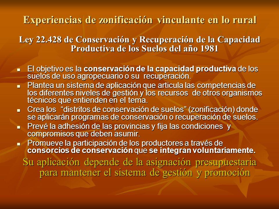 Ley 22.428 de Conservación y Recuperación de la Capacidad Productiva de los Suelos del año 1981 El objetivo es la conservación de la capacidad product