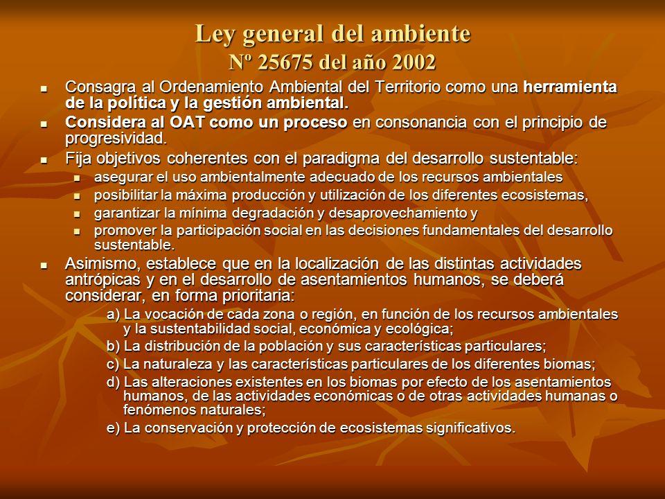 Ley general del ambiente Nº 25675 del año 2002 Consagra al Ordenamiento Ambiental del Territorio como una herramienta de la política y la gestión ambi