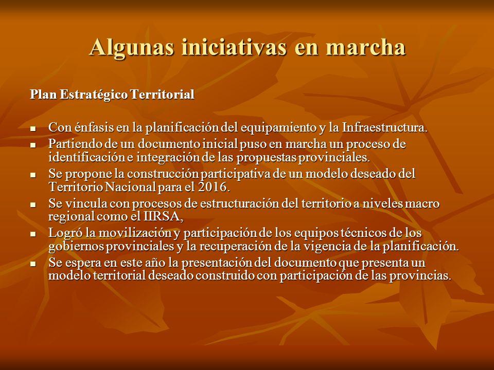 Algunas iniciativas en marcha Plan Estratégico Territorial Con énfasis en la planificación del equipamiento y la Infraestructura. Con énfasis en la pl