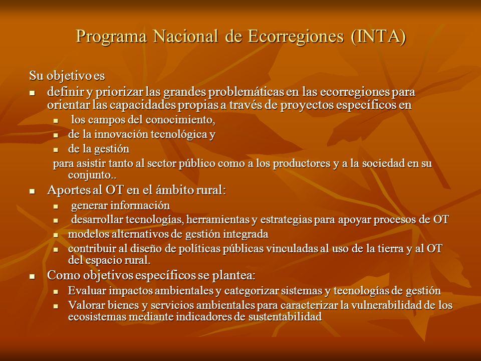Programa Nacional de Ecorregiones (INTA) Su objetivo es definir y priorizar las grandes problemáticas en las ecorregiones para orientar las capacidade