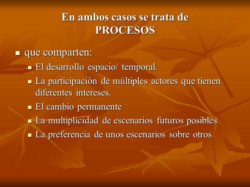 En ambos casos se trata de PROCESOS que comparten: que comparten: El desarrollo espacio/ temporal. El desarrollo espacio/ temporal. La participación d