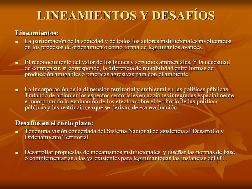 LINEAMIENTOS Y DESAFÍOS Lineamientos: La participación de la sociedad y de todos los actores institucionales involucrados en los procesos de ordenamie