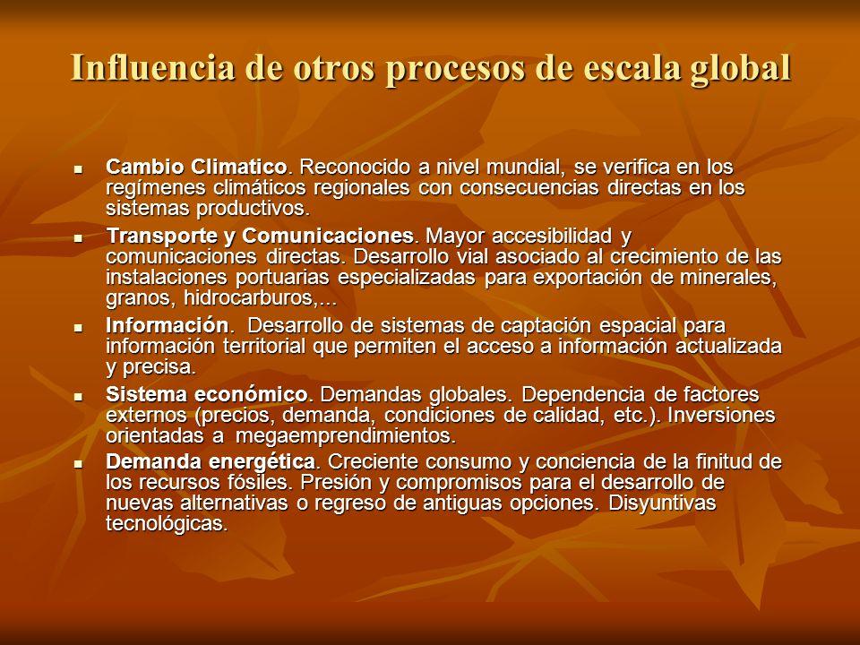 Influencia de otros procesos de escala global Cambio Climatico. Reconocido a nivel mundial, se verifica en los regímenes climáticos regionales con con