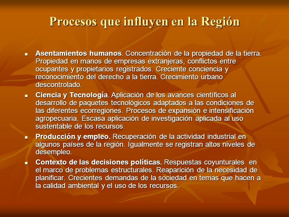 Procesos que influyen en la Región Asentamientos humanos. Concentración de la propiedad de la tierra. Propiedad en manos de empresas extranjeras, conf