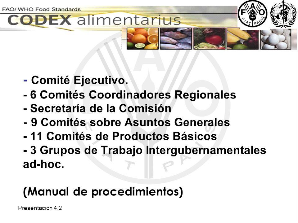 Presentación 4.2 - Comité Ejecutivo. - 6 Comités Coordinadores Regionales - Secretaría de la Comisión - 9 Comités sobre Asuntos Generales - 11 Comités