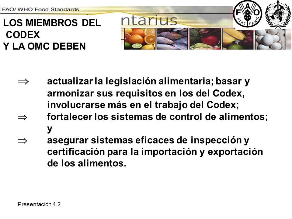 Presentación 4.2 actualizar la legislación alimentaria; basar y armonizar sus requisitos en los del Codex, involucrarse más en el trabajo del Codex; f