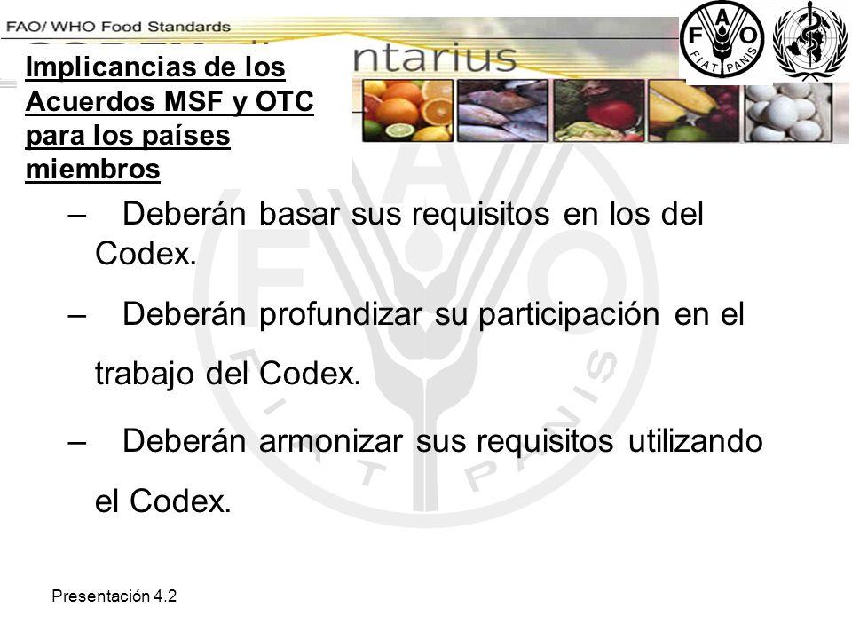 Presentación 4.2 – Deberán basar sus requisitos en los del Codex. – Deberán profundizar su participación en el trabajo del Codex. – Deberán armonizar