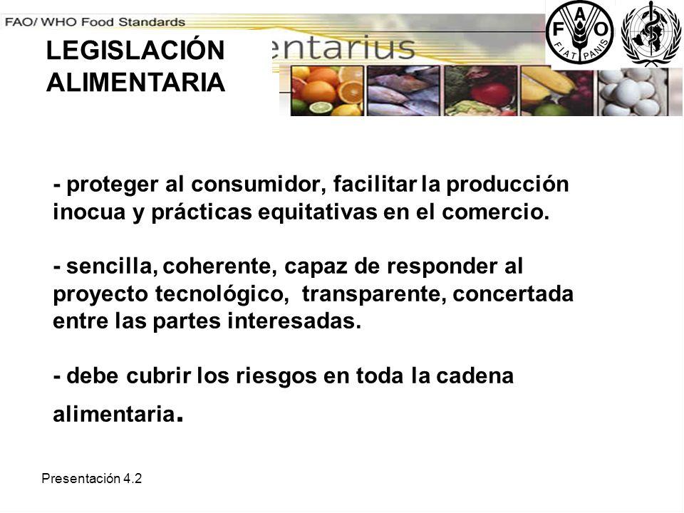 Presentación 4.2 - proteger al consumidor, facilitar la producción inocua y prácticas equitativas en el comercio. - sencilla, coherente, capaz de resp