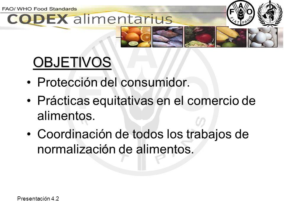 Presentación 4.2 OBJETIVOS Protección del consumidor. Prácticas equitativas en el comercio de alimentos. Coordinación de todos los trabajos de normali