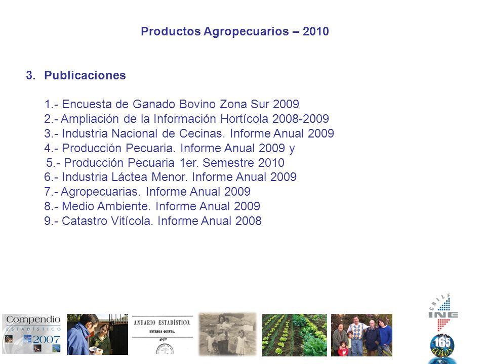 Productos Agropecuarios – 2010 3.Publicaciones 1.- Encuesta de Ganado Bovino Zona Sur 2009 2.- Ampliación de la Información Hortícola 2008-2009 3.- Industria Nacional de Cecinas.