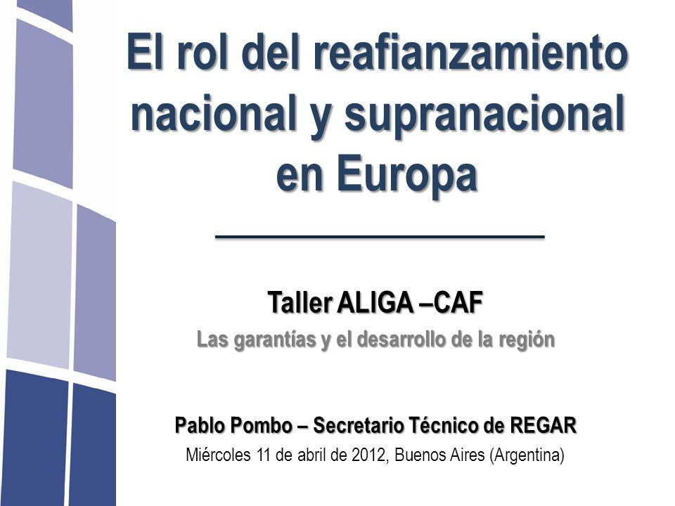 El rol del reafianzamiento nacional y supranacional en Europa Taller ALIGA –CAF Las garantías y el desarrollo de la región Pablo Pombo – Secretario Té