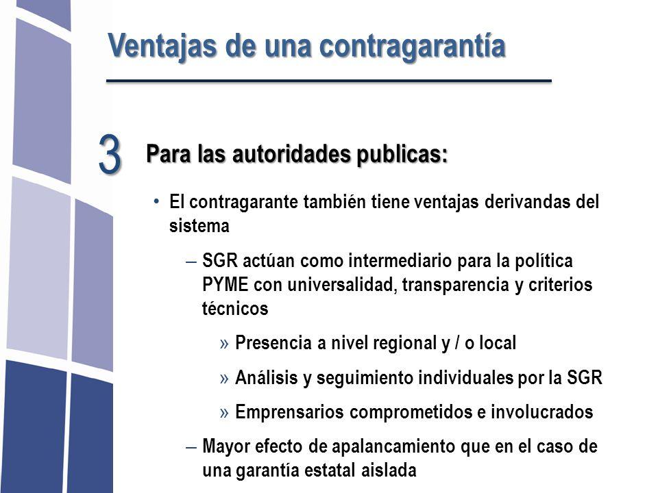 El contragarante también tiene ventajas derivandas del sistema – SGR actúan como intermediario para la política PYME con universalidad, transparencia