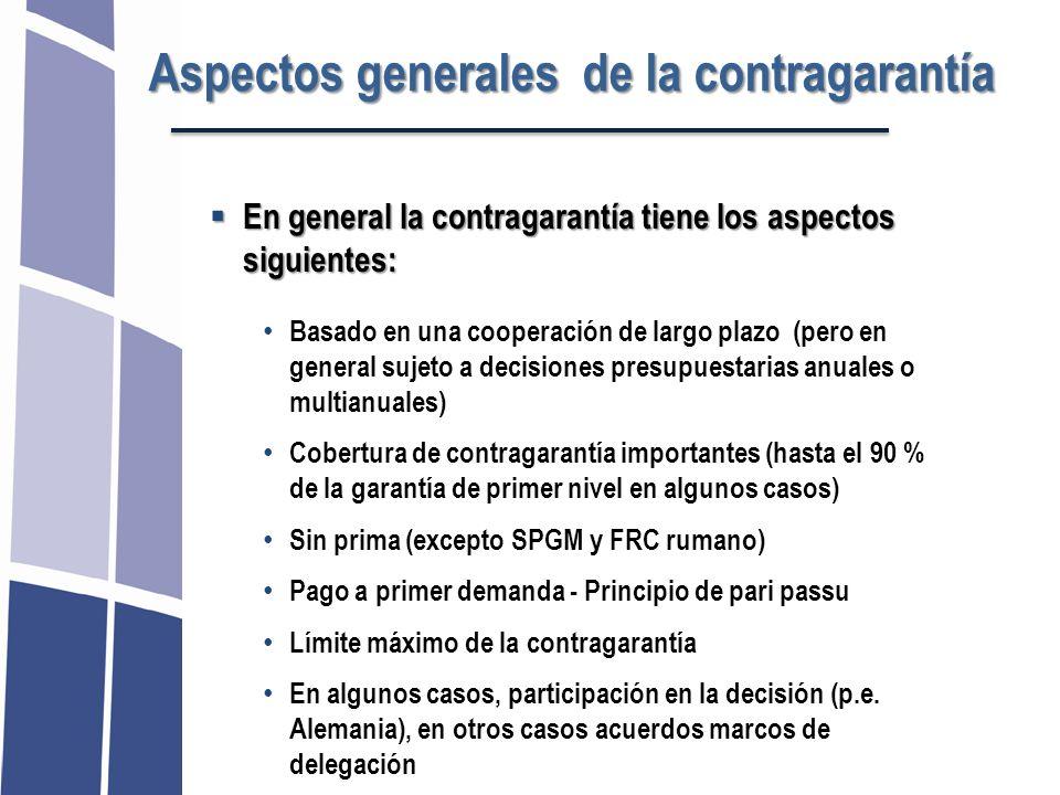 Aspectos generales de la contragarantía En general la contragarantía tiene los aspectos siguientes: En general la contragarantía tiene los aspectos si