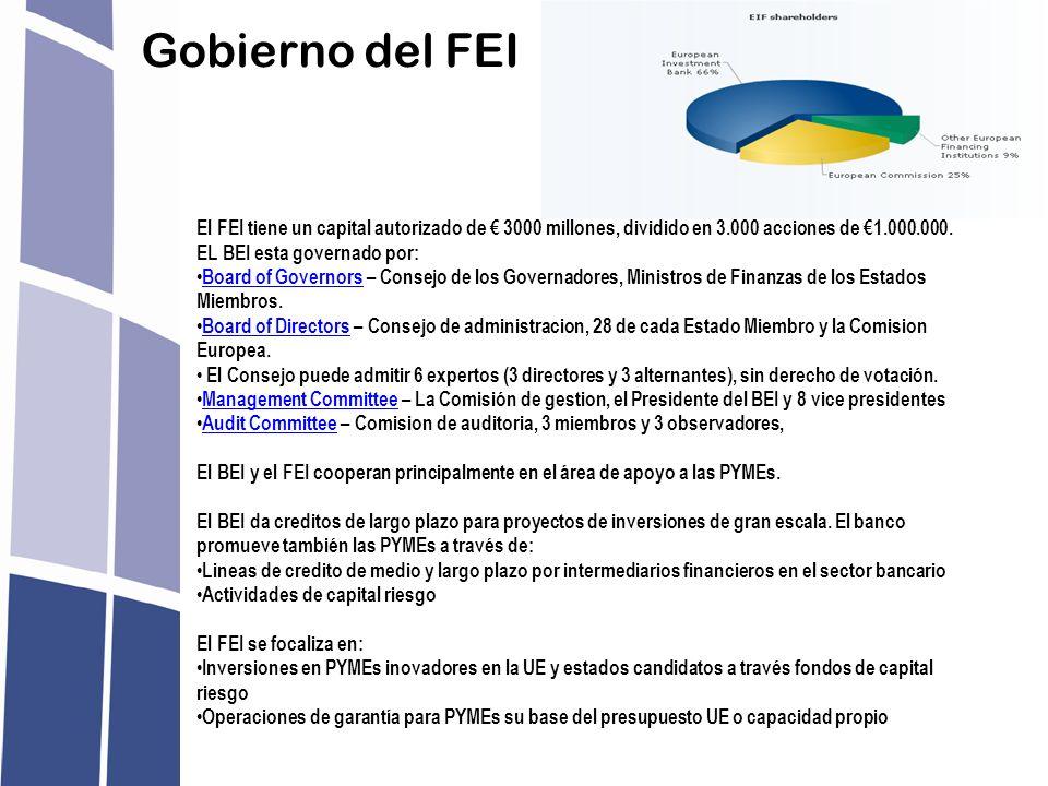 Gobierno del FEI El FEI tiene un capital autorizado de 3000 millones, dividido en 3.000 acciones de 1.000.000. EL BEI esta governado por: Board of Gov