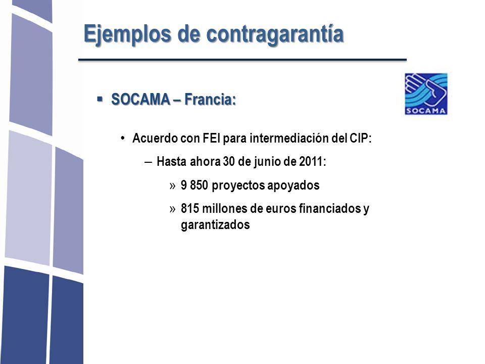 SOCAMA – Francia: SOCAMA – Francia: Acuerdo con FEI para intermediación del CIP: – Hasta ahora 30 de junio de 2011: » 9 850 proyectos apoyados » 815 m