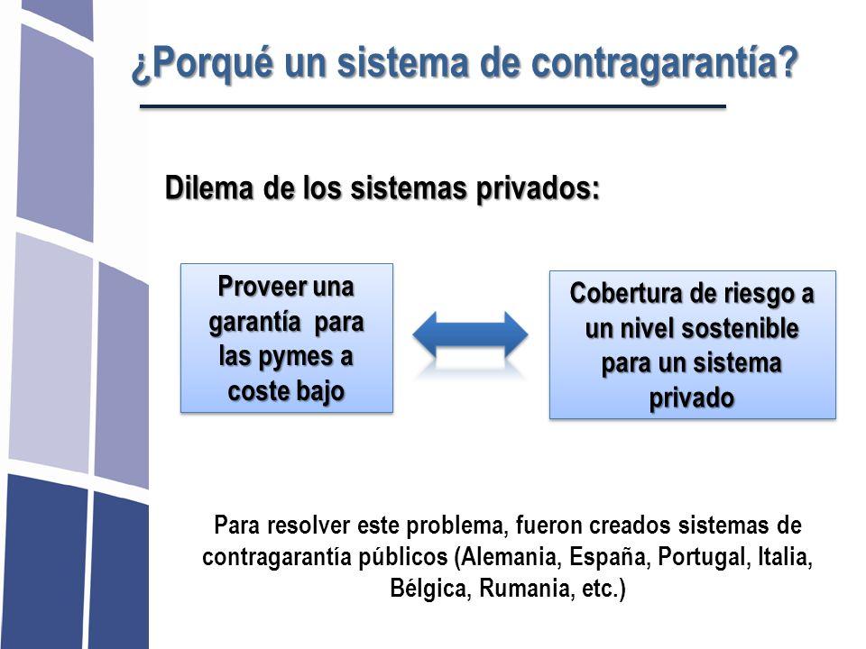 ¿Porqué un sistema de contragarantía? Dilema de los sistemas privados: Proveer una garantía para las pymes a coste bajo Cobertura de riesgo a un nivel