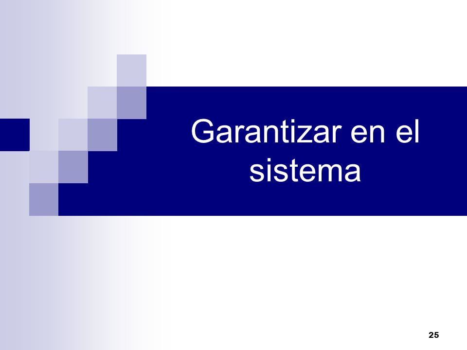 25 Garantizar en el sistema