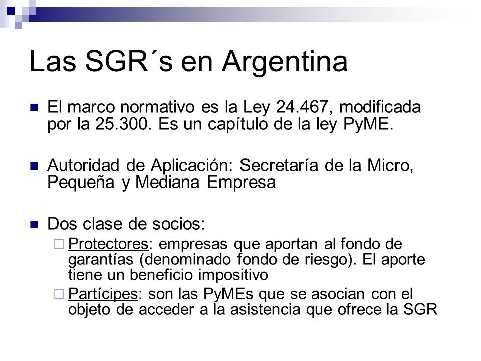 Las SGR´s en Argentina El marco normativo es la Ley 24.467, modificada por la 25.300. Es un capítulo de la ley PyME. Autoridad de Aplicación: Secretar