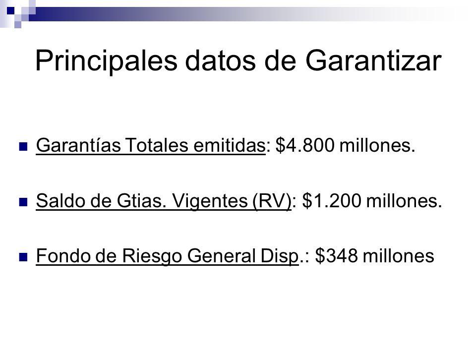 Principales datos de Garantizar Garantías Totales emitidas: $4.800 millones. Saldo de Gtias. Vigentes (RV): $1.200 millones. Fondo de Riesgo General D
