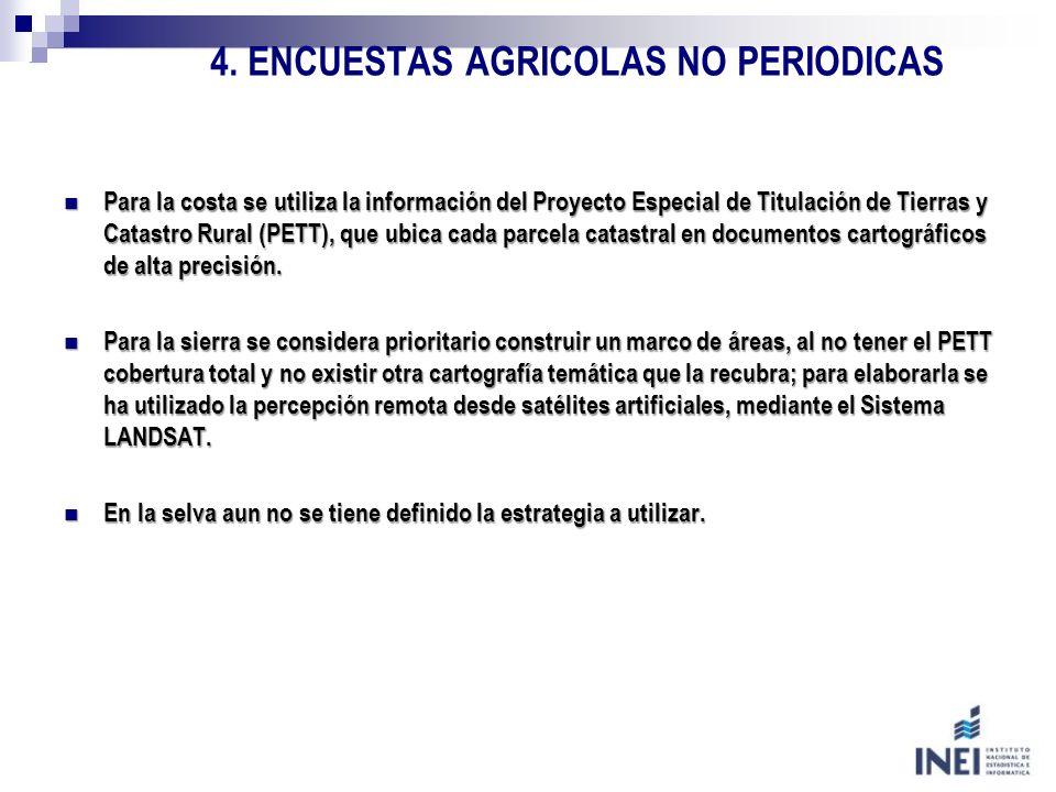 4. ENCUESTAS AGRICOLAS NO PERIODICAS Para la costa se utiliza la información del Proyecto Especial de Titulación de Tierras y Catastro Rural (PETT), q