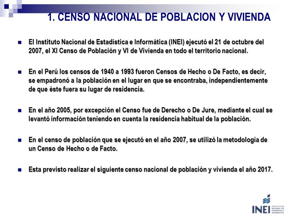 1. CENSO NACIONAL DE POBLACION Y VIVIENDA El Instituto Nacional de Estadística e Informática (INEI) ejecutó el 21 de octubre del 2007, el XI Censo de