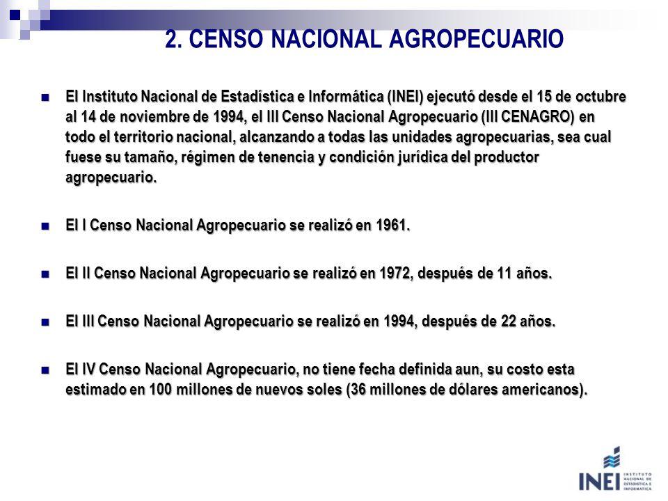2. CENSO NACIONAL AGROPECUARIO El Instituto Nacional de Estadística e Informática (INEI) ejecutó desde el 15 de octubre al 14 de noviembre de 1994, el