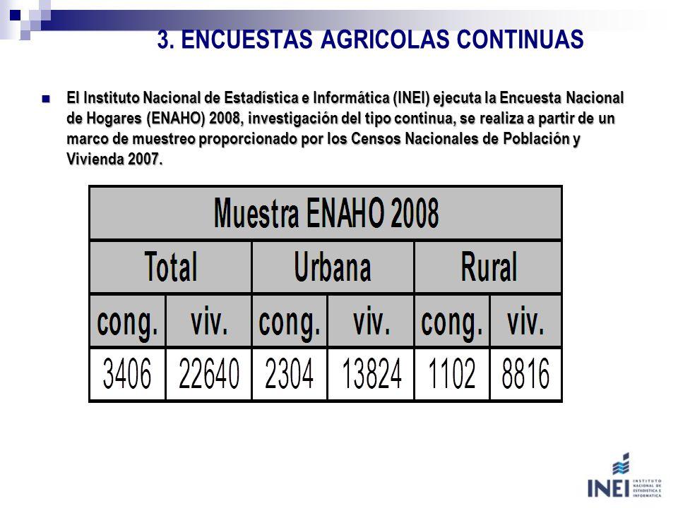 3. ENCUESTAS AGRICOLAS CONTINUAS El Instituto Nacional de Estadística e Informática (INEI) ejecuta la Encuesta Nacional de Hogares (ENAHO) 2008, inves