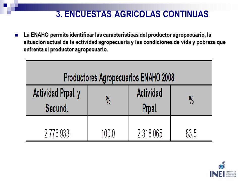 3. ENCUESTAS AGRICOLAS CONTINUAS La ENAHO permite identificar las características del productor agropecuario, la situación actual de la actividad agro