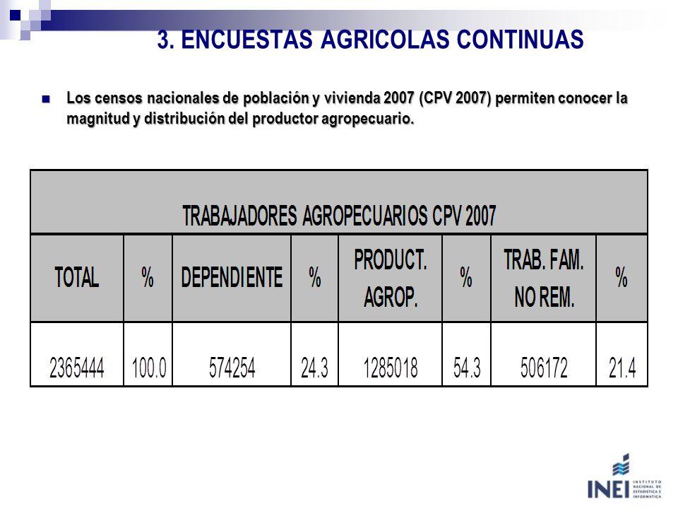 3. ENCUESTAS AGRICOLAS CONTINUAS Los censos nacionales de población y vivienda 2007 (CPV 2007) permiten conocer la magnitud y distribución del product